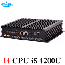[Ce и fcc и РОШ] мини-компьютер без вентилятора Мини-ПК Окна 7 Core i5 4200U 6 * RS232 промышленные pc прочный ПК мини Computador 4 К ТВ коробка