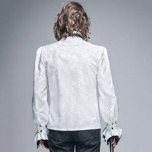 Image 5 - الشيطان موضة القوطية الساطع الرجال التعادل قميص Steampunk أسود أبيض رائع نمط طويل الأكمام قمصان الذكور بلوزة غير رسمية بلايز