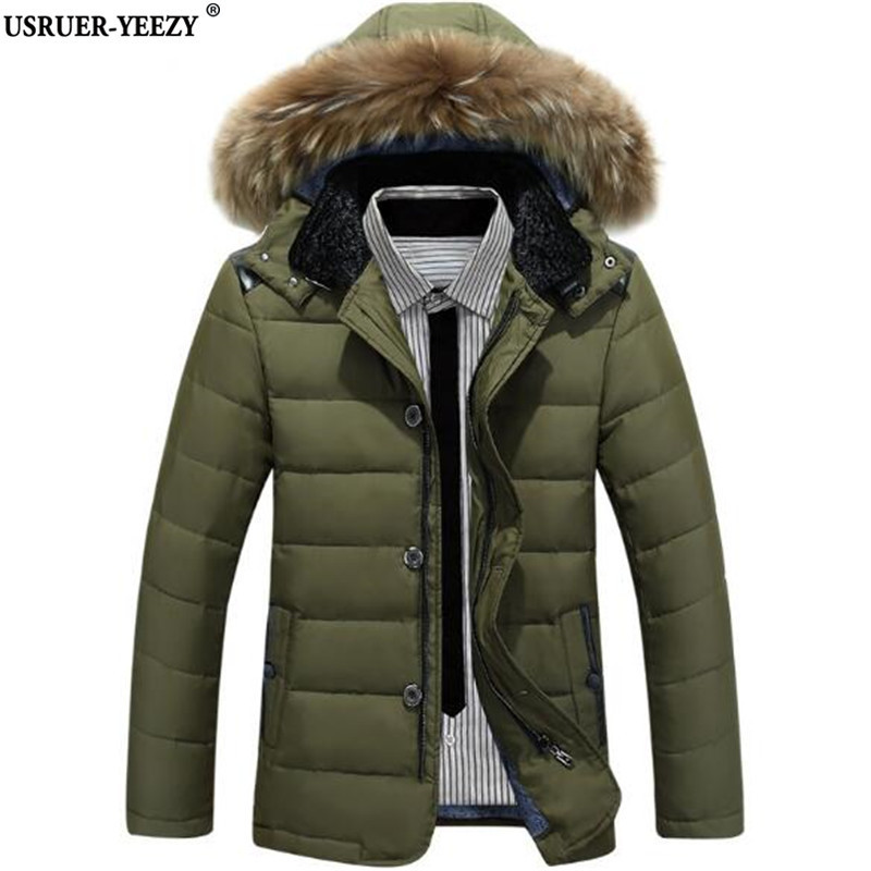 2017 New Winter Tops Parka Men Jacket Fur Hood Plus Size Winter Jacket Male Winter Jackets Brand Solid Color Fashion Men's Coat