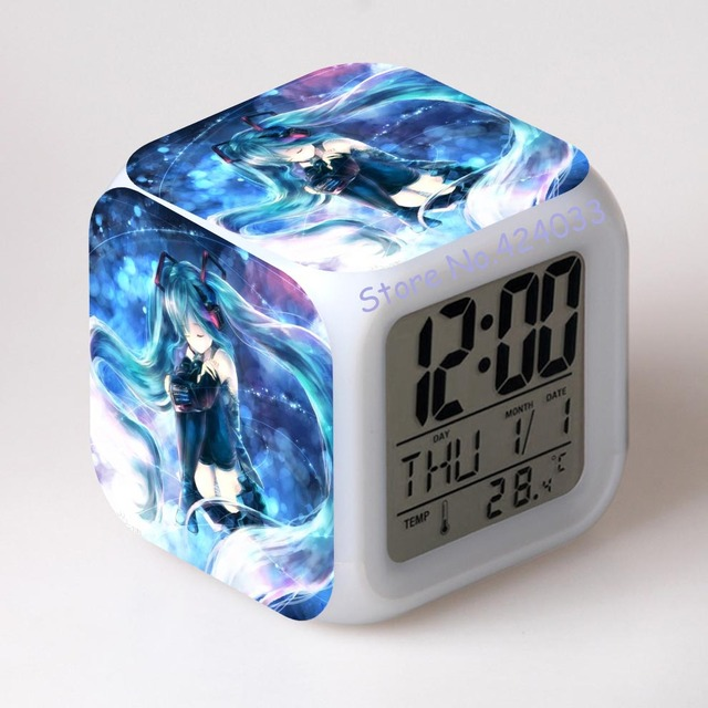 Hatsune Miku LED Alarm Clock Bedroom Alarm Clocks For Kids Gif