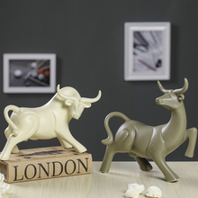 Ceramic wealth cow Bull fengshui home decor creative crafts handicraft nordic Cattle porcelain animal figurines wedding gifts genuine fengshui pear wood carvings cattle fortune bullish money cow ornaments lucky defends transport rosewood gifts