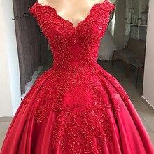 Designer Vintage Red Wedding Dress 2019 Lace Beaded Church Bride Dresses Custom Made off Shoulder Wedding Gowns Suknia Slubna