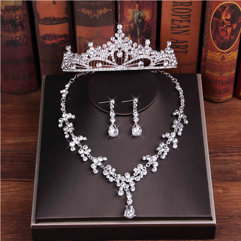 Luxury 3 Pieces Women Wedding Accessories Rhinestone Bridal Headwear&Earrings&Necklace Set Fashion Marriage Princess Crown