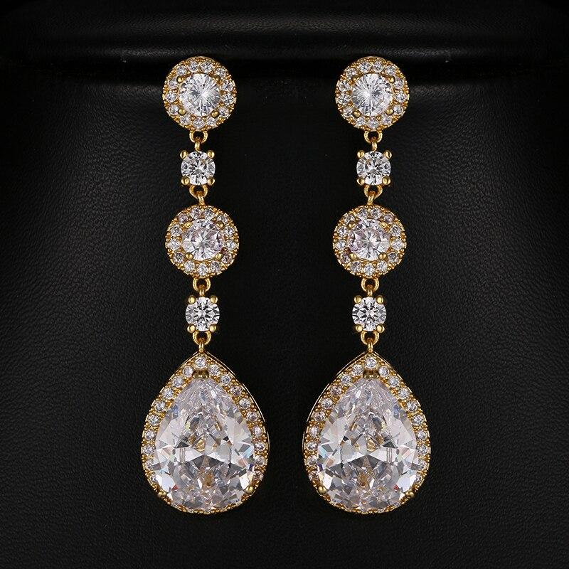 Fashion Clear Marquise Cut CZ Long Drop Earrings Gold Color Water Drop Wedding Bride Earring For Women Engagement Gifts E-004