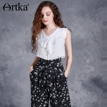 Artka 2018 Summer New Women's Fashion Solud V-neck Sleeveless Ruffled Thin Vintage All-match Chiffon Blouse Shirt SA12172X