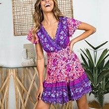 Cuerly Sexy floral print ruffle short dress women Summer wrap elegant party dress female vestidos Casual daily mini dresses  L5
