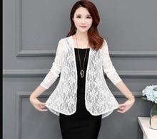 цены на Spring summer Fashion See-through Lace blouse  Long Sleeve Cardigan Casual Loose Cotton Women Tops Plus Size shirt Cardigan  в интернет-магазинах