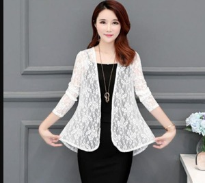 Spring summer Fashion See-through Lace blouse  Long Sleeve Cardigan Casual Loose Cotton Women Tops Plus Size shirt Cardigan