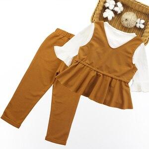 Image 2 - Conjunto de ropa para niña, chaleco + Camisa lisa + Pantalones, ropa escolar para niña, conjunto de 6, 8, 10, 12, 13 y 14 años, 3 uds.