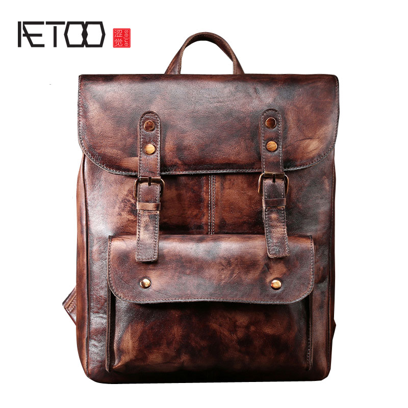 AETOO  New original male bag leather shoulder bag retro vegetable tanned leather pure hand rub color backpackAETOO  New original male bag leather shoulder bag retro vegetable tanned leather pure hand rub color backpack
