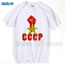GILDAN HanHent CCCP Russian T Shirt USSR Soviet Union KGB Moscow Cold War high quality casual tee Summer Men T-shirts TA0673