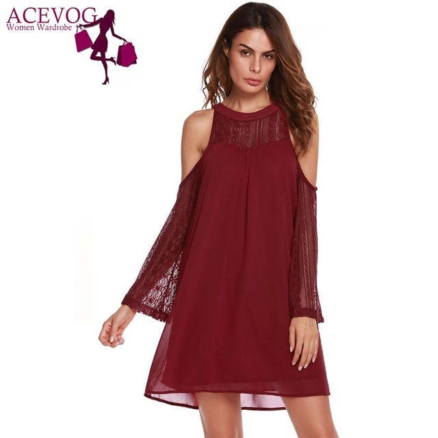 ACEVOG Women Long Sleeve Lace Patchwork Cold Shoulder Chiffon A-Line Dress  Knee Length O Neck Club Party Sexy Feminino Vestidos 8b4046bcb