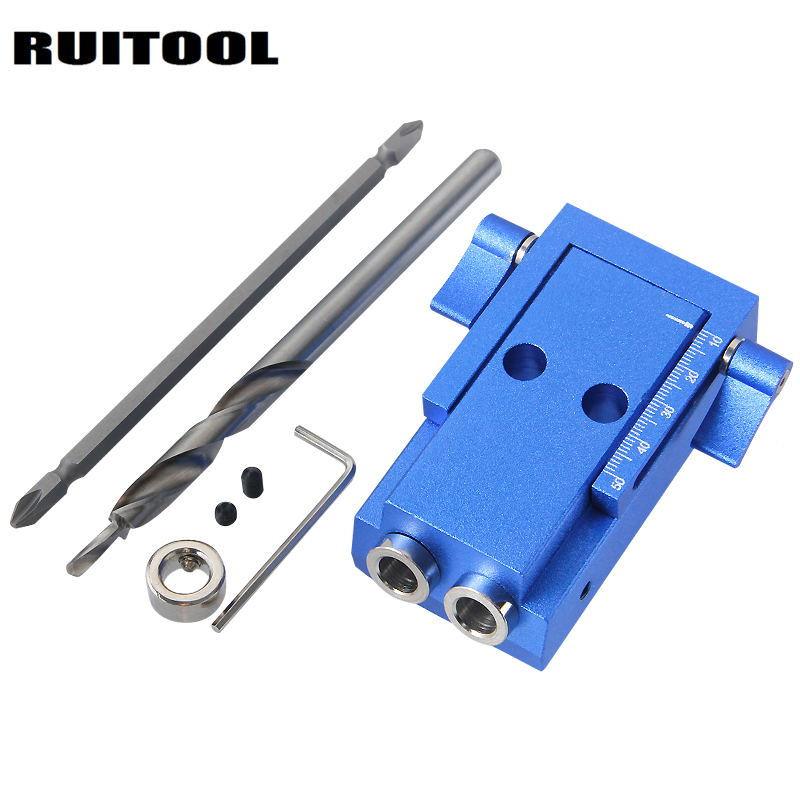 RUITOOL Pocket Hole Jig Kit System Step Drill Bit Screwdriver For Drilling Holes Locator Woodworking Tools woodworking tool pocket hole jig woodwork guide repair carpenter kit system with toggle clamp and step drilling bit kreg type