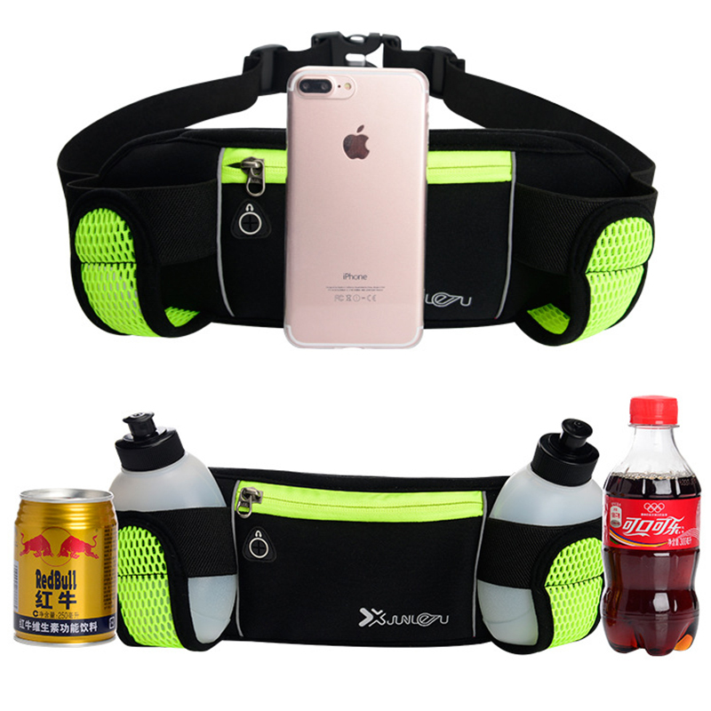 Outdoor Sport Climbing Running Fitness Waist Bag With Double Water Bottle Pack Phone Pouch Kettle Holder Adjustable Band