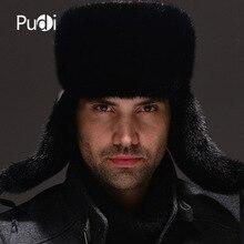 HM032 Gerçek hakiki vizon şapka kış Rus erkek sıcak kapaklar bütün parça vizon kürk şapka