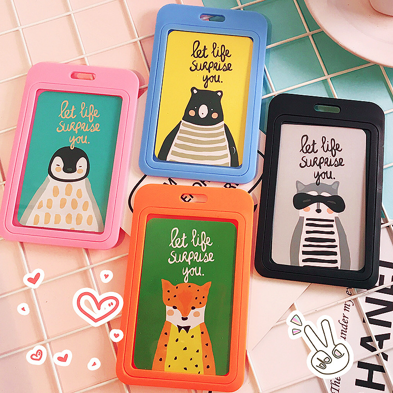 cute candy solid color id card holder children creative