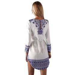 2018 New Vintage Ethnic  Blue And White Porcelain Dresses Sashe O-neck Long-Sleeved Floral Dress Female Vestidos 2