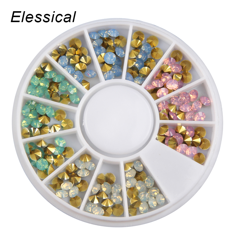 ELESSICAL SS14 Nail Decoration Wheel Colorful Cone 3D DIY Tips Drill Nails Charms Opal Rhinestones For Nail Manicure WY1001 elessical colorful crystal nail rhinestones 3d nail art decoration manicure jewelry copper beads glitter nail accessories rivet