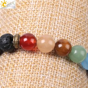 Image 5 - CSJA Natural Black Lava Beads Men Bracelets Muti color 7 Chakra Mala Stone Prayer Meditation Diffuser Energy Reiki Jewelry E955