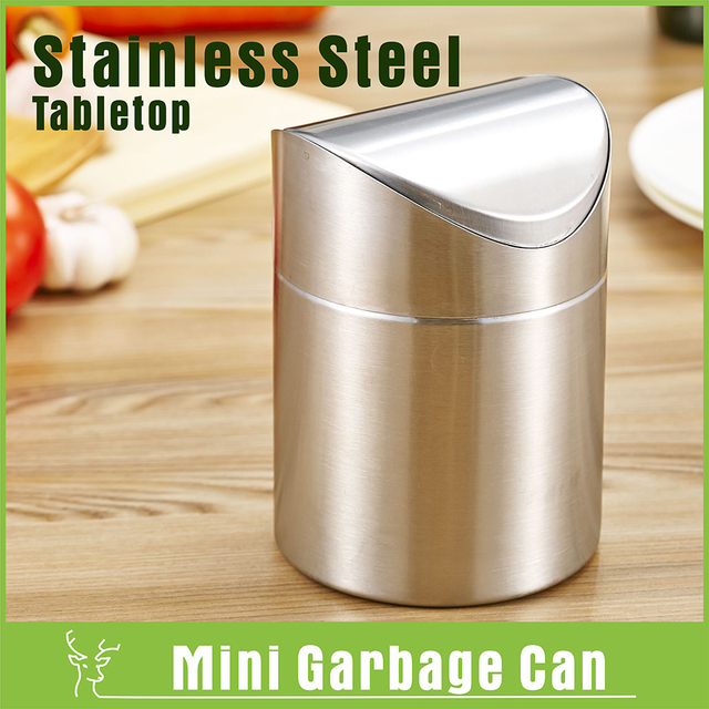 Brushed Stainless Steel Mini Garbage Can Table Desk Trash Rubbish