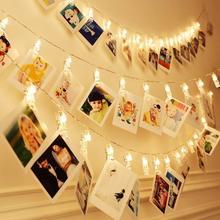 3 м, 6 м, 10 м, держатель для фото, светодиодный светильник на батарейках, рождественские, новогодние, вечерние, свадебные украшения на Рамадан, сказочные огни