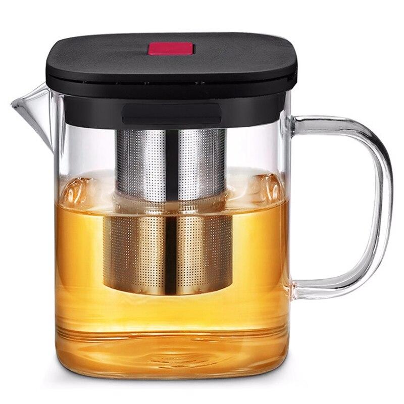 Şeffaf cam kare paslanmaz çelik demlik ile demlik ısıya çay süzgeci çaydanlık seti aracı