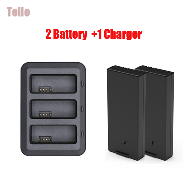 Original DJI Tello Battery Charging Hub+2 Pcs 1100mah Tello Flight Battery Rechargeable Batteries For dji ryze tello Drone