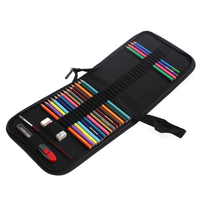 Черный Холст сумки Карандаш Набор 36 Карандаши + Ластик + Карандаш + Нож Поставки Художественные красочные цветные карандаши искусства набор эскиз набор ASS003