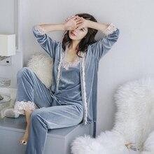 Mùa đông Ấm Áp Đồ Ngủ Set Phụ Nữ Ngủ Phù Hợp Với Nhung Sexy Màu Hồng Homewear Pijama Phụ Nữ Đồ Ngủ Bộ Quần Dài Áo Ba  mảnh Phù Hợp Với