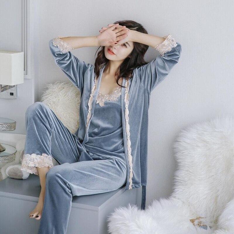 Winter Warm Pajamas Set Women Sleepwear Suit Velvet Sexy Pink Homewear Pijama Woman Pajamas Long Pant Set Robe Three-piece Suit