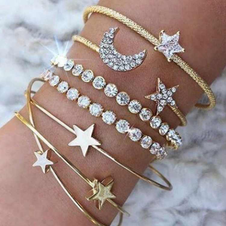 Best Selling New Fashion Personality Alloy Full Rhinestone Pentagram Stars Moon Heart Bracelet Female Jewelry Gift Jewelry