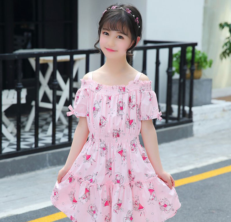 Girls Dress Baby Girl Fancy Frocks 2018 Elegant Summer Print Cotton Children Costume Off Shoulder Dresses for Kids 3 to 10 Years