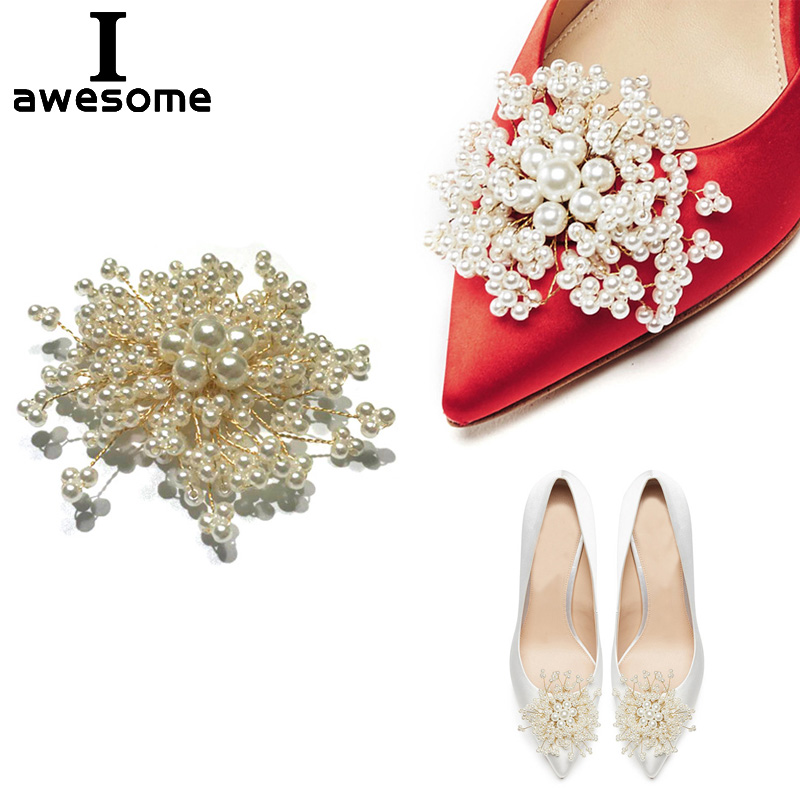 Beading DIY Pearl Bridal Wedding Party Shoes Accessories For High Heels Sandals Boots Flats Shoe Decorations Shoe's Flower