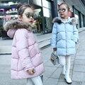 2017 девушки зимнее пальто куртки для девочек детская одежда дети одежда меховой воротник капюшоном толстые куртки parka 5 цвета возраст 1-15Y