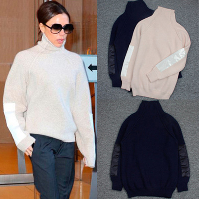 Women sweaters and pullovers Victoria Beckham turtleneck 70% Wool the solid color plain knitted loose cardigan sweater