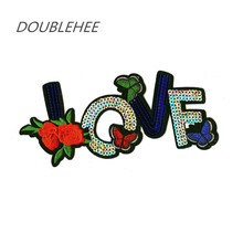 DOUBLEHEE Sequins Love Flower 3 Butterfly Patch Embroidered Iron On Patches Design Embroidery DIY Shoes Bags Accessories