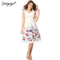 Ruiyige Womens Holiday Tank Dresses Sexy Small V Neck Floral Printed Tunic Slim Midi Rockabilly Vest