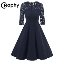 Hollow Out Patchwork Lace Dress 2018 Sexy Cocktail Party Ladies Dresses Elegant Big Swing A Line Dresses Summer Dress