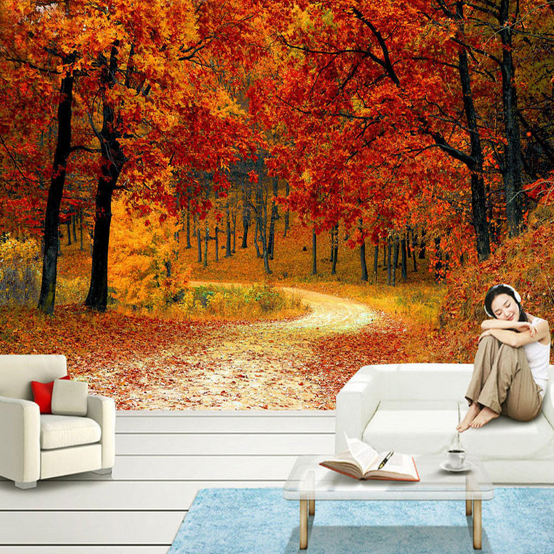 Red Maple Forest Path Photo Mural Wallpaper Modern Beautiful Living Room Bedroom Backdrop Wall Murals Home Decor Papel De Parede