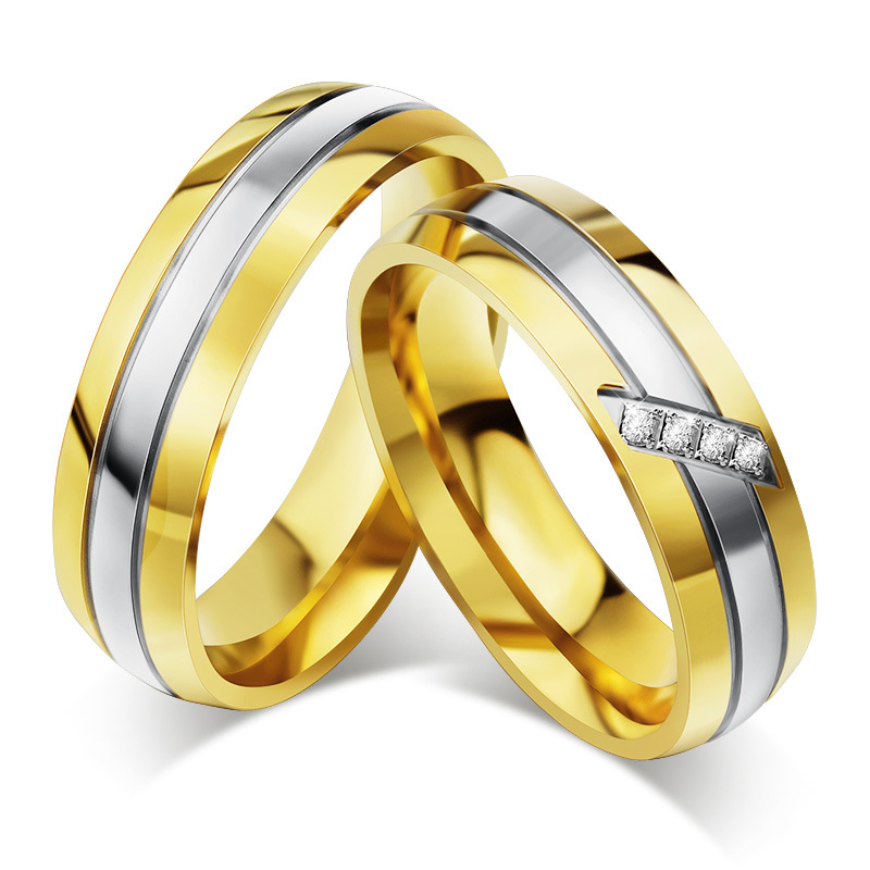 Gold-Color Wedding Band Stainless Steel Rings For Women And Men Wedding Engagement Couple Ring Wholesale
