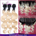Brazilian Virgin Hair Body Wave 13x4 Lace Frontal With 3 Bundles Human Hair With Frontal T1b/613 Dark Roots Blonde Ombre Hair