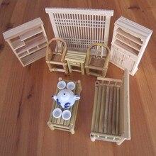 Un juego de 13 Uds casa de muñecas Mini muebles Vintage muebles silla Accesorios de escritorio modelo creativo lindo