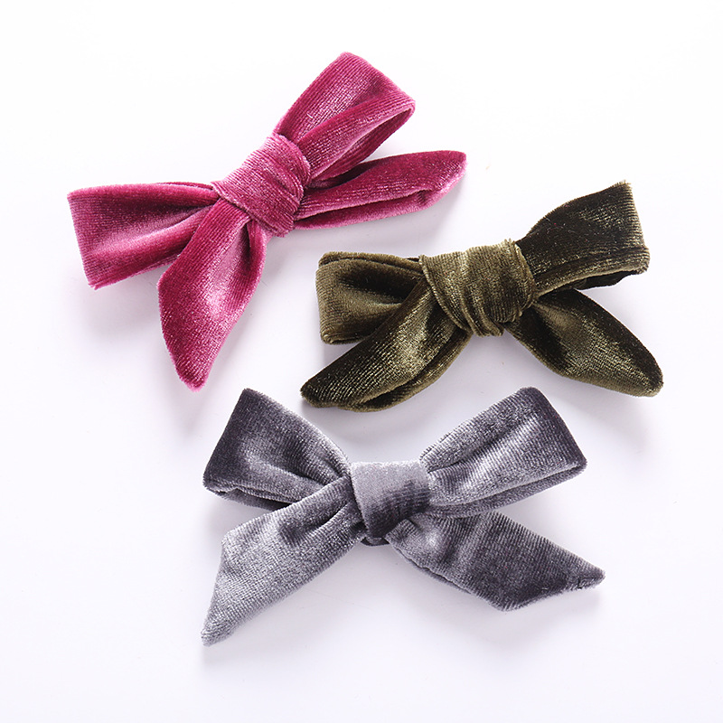 Baby Bows Hair Clip Girls Velvet Hairpins Toddler Party Hairclips Children Barrette Kid Duckbill Clip Infant Cute Hair Accessory
