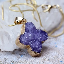 Druzy Necklace Agate Nature Stone Charms Purple Geode Amethyst Gold Cross Drusy Necklaces for Women Drop