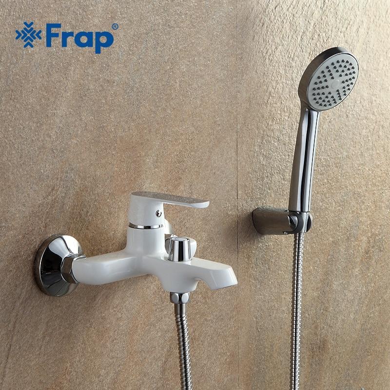 FRAP new white bathroom fixture waterfall restroom bath shower faucets system wall mounted bathtub rain shower mixer set F3231