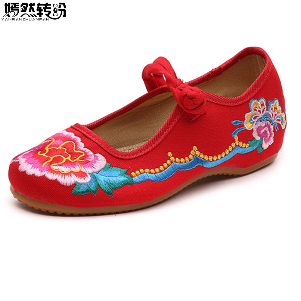 New Arrive Women Shoes Flats Old BeiJing Floral Embroidery Ballets Shoes Woman Soft Ballerina Sapato Feminino weowalk 5 colors chinese dragon embroidery women s old beijing shoes ladies casual cotton driving ballets flats big size 34 41