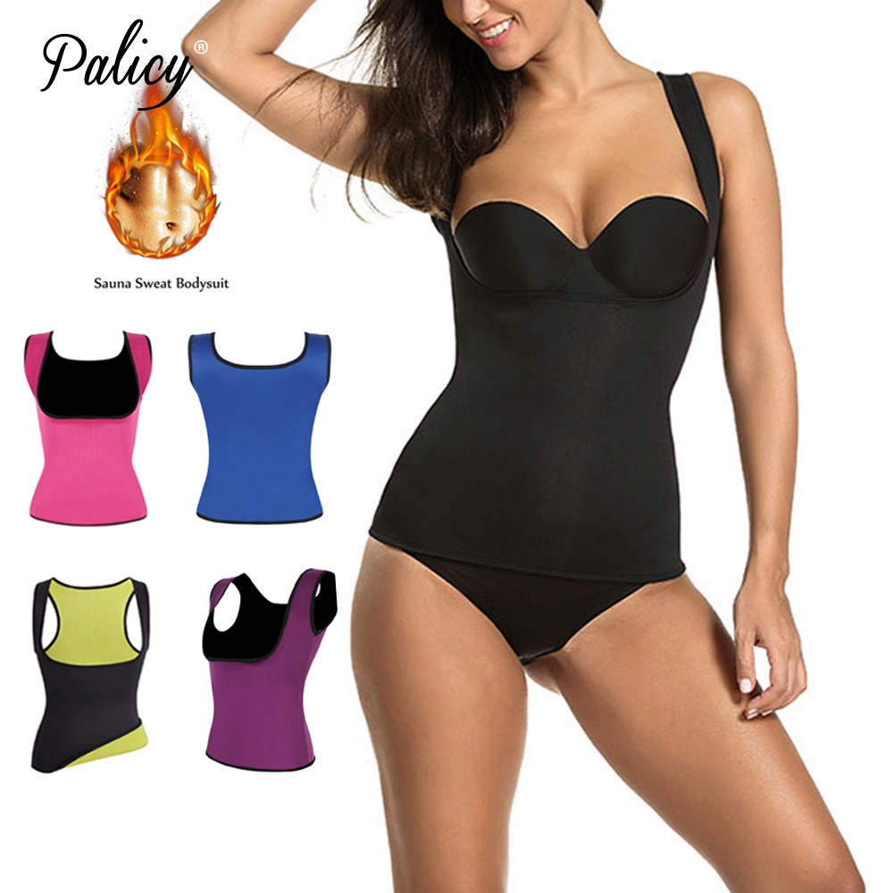 Palicy Womens S-2XL Sauna Vest Suit Neoprene Body Shaper Thermo Ultra Sweat Waist Trainer Female Tummy Control Belly Girdle