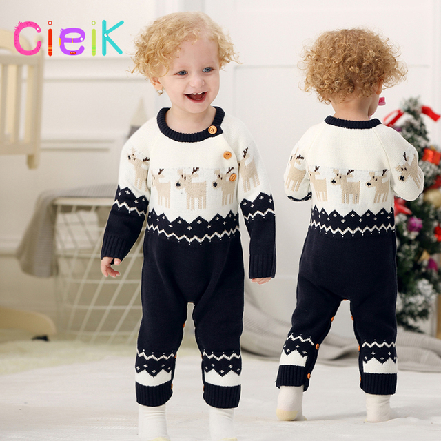 45fa2fbe2 CieiK New Year Newborn Baby Rompers Winter Knitted Baby Boy Clothes ...