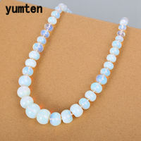 Yumten Opal Natural Stone Rainbow Gemstone Necklace Power Crystal Choker Charm Beads Chain Reiki Vintage Women Men Fine Jewelry
