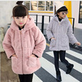 2016 Winter Girls Fur Long Sleeve Coat Children Outerwear Kid School Winter Keep Warm Christmas Clothes Warm Cute Thick Jacket